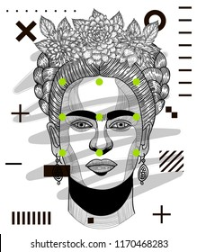 Sep.3, 2018: Frida Kahlo self portrait with flowers. Hand drawn vector illustration.