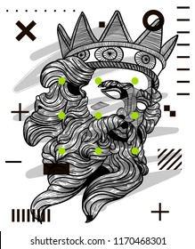 Sep.3, 2018: The Statue of Zeus. Hand drawn vector illustration.