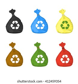 Separate garbage bags for waste disposal and recycling. Vector illustration of recycle plastic garbage sacks. Trash bags for garbage separation for sustainable renewable recycling.