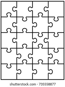 Separate parts of white puzzle