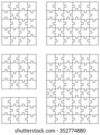 Separate pieces of five white jigsaw puzzles, vector