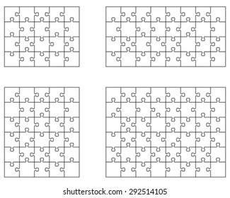 Separate pieces of four white jigsaw puzzles, vector illustration