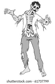 Separate zombie on a white background. Vector illustration.