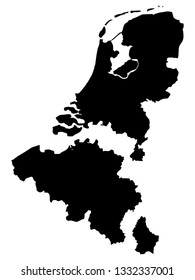 Separated Black Map of Benelux