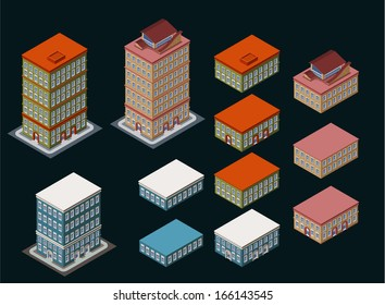 separated isometric building, its height is easily customize