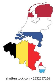 Separated Map of Benelux with State Flags