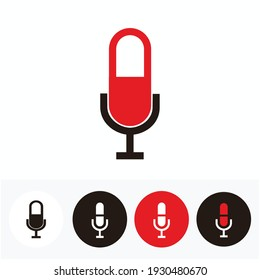 separated microphone set isolated on white, red and black - silhouette of separated microphone for broadcast or podcast icon or logo set