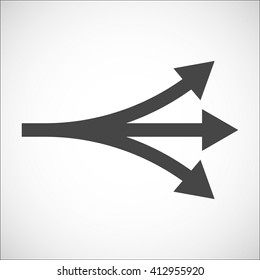 Separation icon with arrows explanation. Complication, forking, branching. Diversification process in business. Split from single to many. From simple to complex arrow diagrams.