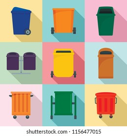 Separation recycle bin waste trash icons set. Flat illustration of 9 separation recycle bin waste trash vector icons for web