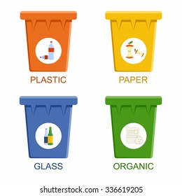 Separation recycling bins. Waste segregation management concept. Vector Illustration