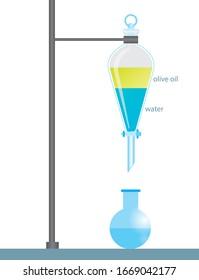 Separatory funnel illustration of chemistry