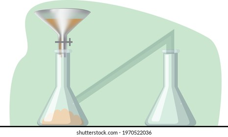 Separatory funnel illustration of chemistry. question template, chemistry, physics,Realistic laboratory experiment elements concept with test tubes alcohol burner beaker funnel and flasks of different