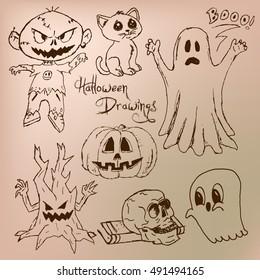 Sepia Halloween Drawings
