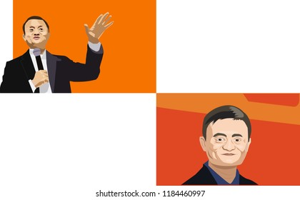 Sept, 2018: CEO of Alibaba Jack Ma vector illustration portraits set with Aliexpress logo