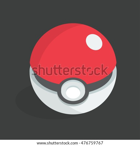 September 1, 2016: Vector icon of the pokeball. Isometric illustration.