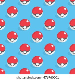 September 1, 2016:  Vector pattern of the pokeballs. Isometric illustration.