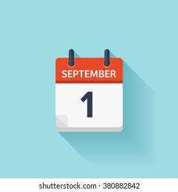 September 1. Calendar icon.Vector illustration,flat style.Date,day of month:Sunday,Monday,Tuesday,Wednesday,Thursday,Friday,Saturday.Weekend,red letter day.Calendar for 2017 year.Holidays in September