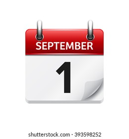 September  1. Vector flat daily calendar icon. Date and time, day, month. Holiday.