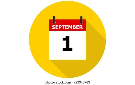 september 1 yellow calendar vector flat icon with long shadow