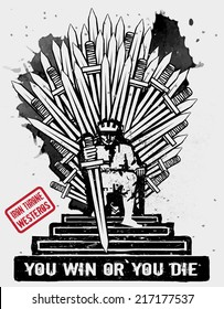 September 10, 2014: Vector illustration of the Iron Throne of Westeros, seat of the king at King's Landing, featured in TV show Game of Thrones