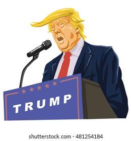 September 10, 2016: Donald Trump Giving A Speech, Vector Portrait