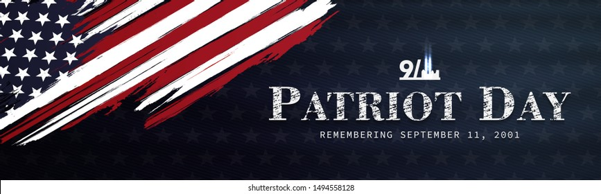 September 11, patriot day background. United states flag poster. Modern design vector illustration.