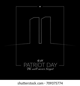 September 11 in the USA Patriot Day Memorial Day on a dark background Silhouette of twin towers Vector