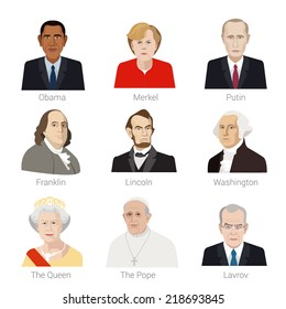 September 14, 2014. Vector Flat style icon set of portraits of famous people of the world.