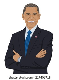 September 14, 2014: A vector illustration of a portrait of the President of the United States Barack Obama isolated on a white background