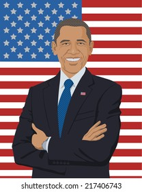 September 14, 2014: A vector illustration of a portrait of the President of the United States Barack Obama isolated on the background of the American flag