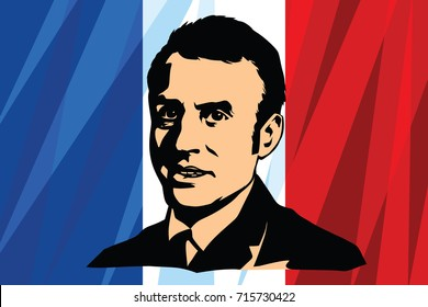 September 15, 2017. The French President Emmanuel Marcon. French flag background. Vector illustration