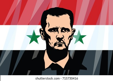 September 15, 2017. Syrian President Bashar al-Assad. Syrian flag background. Vector illustration