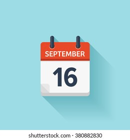 September 16.Calendar icon.Vector illustration,flat style.Date,day of month:Sunday,Monday,Tuesday,Wednesday,Thursday,Friday,Saturday.Weekend,red letter day.Calendar for 2017 year.Holidays in September