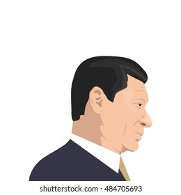 September 18, 2016: vector illustration of Xi Jinping portrait - the General Secretary of the Communist Party of China, the President of the People's Republic of China - on white background.