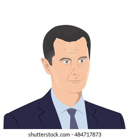 September 18, 2016: vector illustration of Bashar al-Assad portrait -  the President of Syria - on white background.