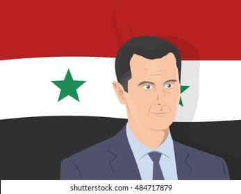 September 18, 2016: vector illustration of Bashar al-Assad portrait -  the President of Syria - on Syrian flag background.
