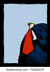 September 18, 2017. Low angle view editorial cartoon of American president Donald Trump