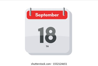 September 18th calendar icon. Day 18 of month. Vector icon illustration.