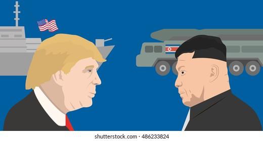 September 20, 2016: vector illustration of the President of the USA Donald Trump and Kim Jong-un portraits. USA and North Korea relations.