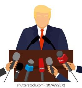 September 20, 2017. Donald Trump President of America at the podium gives a speech. Vector cartoon character. Donald Trump Giving A Speech.