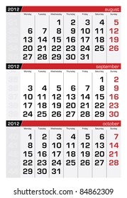 September 2012 Three-Month Calendar