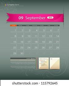 September 2013 calendar ribbon design, vector illustration