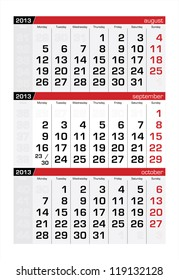 September 2013 Three-Month Calendar
