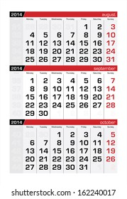 September 2014 Three-Month Calendar