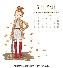 September. 2017 calendar with cute girl with umbrella. Can be used like greeting cards.