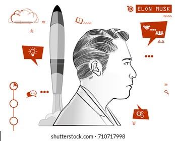 September 2017: Elon Musk sketch vector illustration