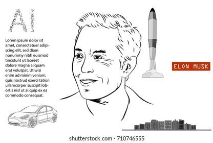 September 2017 : Elon Musk vector illustration