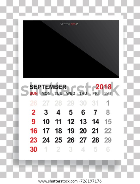September 2018 Calendar Background Empty Photo Stock Vector