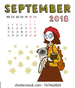 September. 2018 calendar. Cute girl with dog. Can be used like greeting cards.