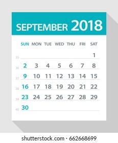 September 2018 Calendar Leaf - Vector Illustration